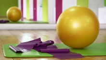 Exercise ball and floor mat