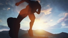 Silhouette of a runner on a sunny day