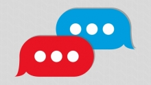 Blue and red speech bubbles
