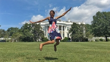 Lauren on the lawn of the White House